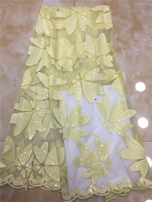 Tela de encaje de lentejuelas africanas 2019, tela de encaje nigeriano de alta calidad, tela de encaje de red de fiesta francesa, telas de flores amarillas