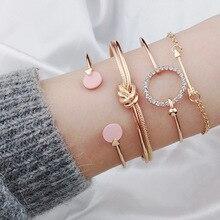 Looey quente mulheres brecelets simples nó liga aberto pulseira femme seta cristais pulseiras boho mão corrente jóias acessórios presentes