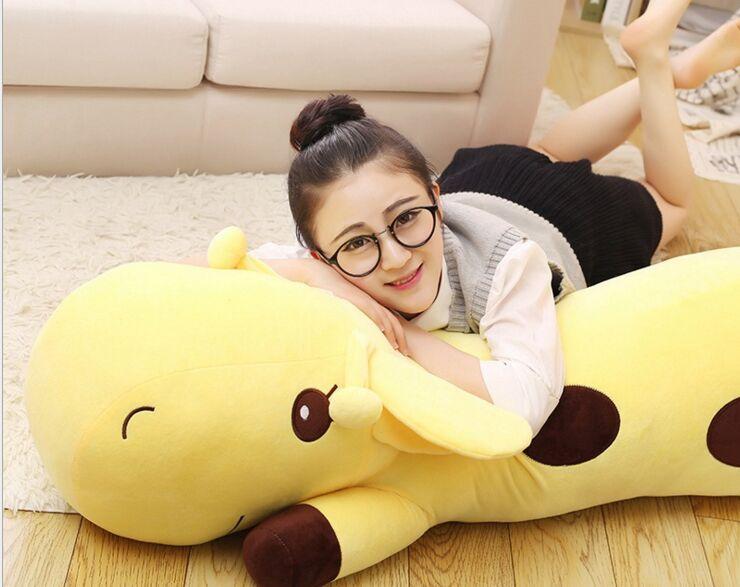 huge lovely plush yellow giraffe toy big lying giraffe doll gift about 130cm 2697