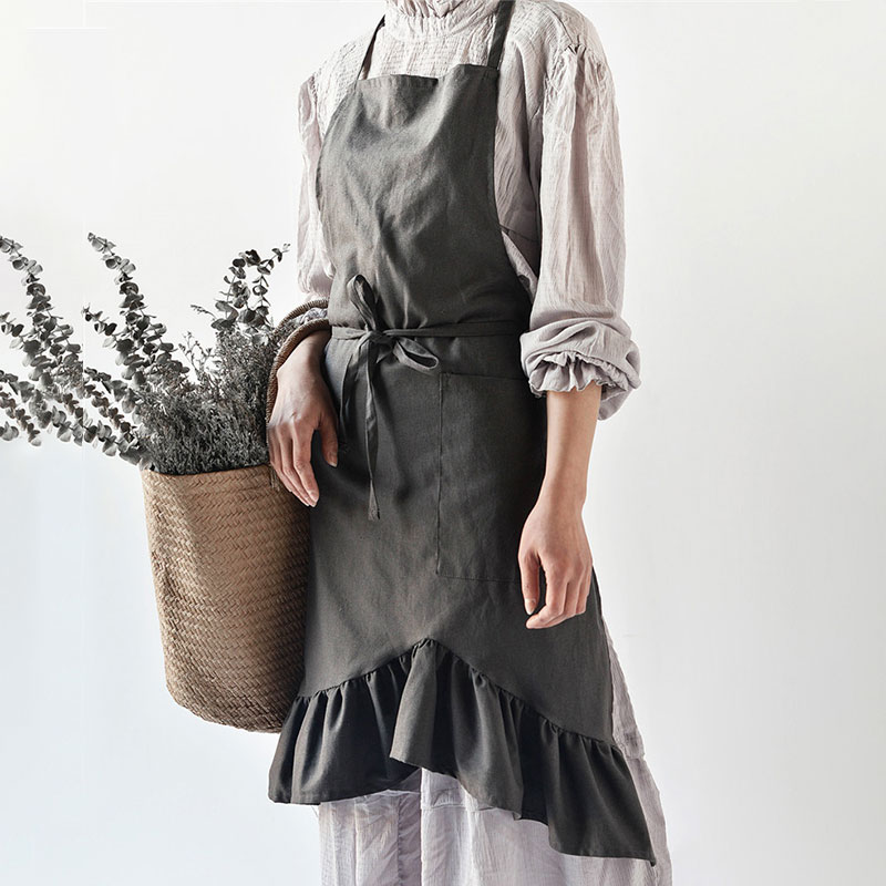 Kitchen Aprons For Woman Cotton Linen Adjustable Baking Cooking Apron Barista Sleeveless Pastry Chef Bibs Gardener Workwear geometric style hot sale high quality cotton waterproof women aprons adjustable sleeveless kitchen cooking aprons