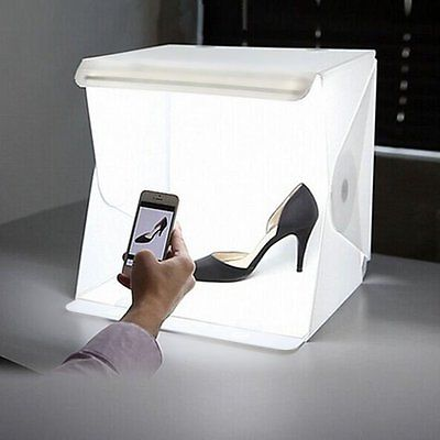 NEW TYPE Mini Folding Studio Diffuse Soft Box With LED Light Black White Background Photo Studio Accessories photo studio box