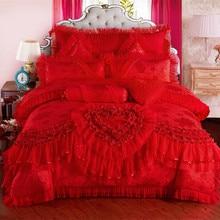 4/6/9 stücke rot rosa Jacquard Seide Baumwolle Luxus hochzeit Bettwäsche Set König Größe Königin Bett Set spitze Bettbezug Bett Blatt Pillowcas