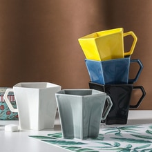 200ml European creative color glaze ceramic Mark cup breakfast milk coffee cup couple simple afternoon tea coffee Mark cup
