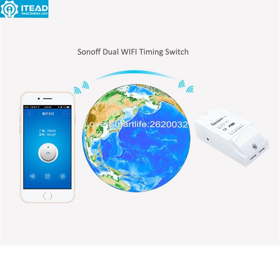 Interruptor de temporizador inteligente Itead Sonoff de 2 vías con Wifi, Control remoto inalámbrico, temporizador inteligente DIY, interruptor de automatización del hogar