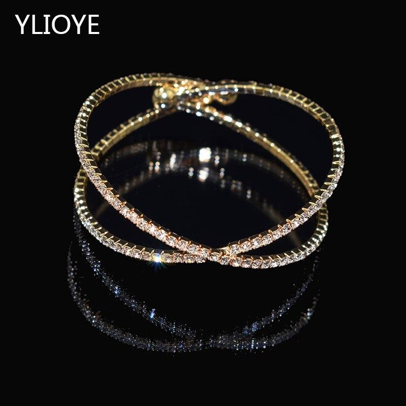 Elegante brazalete de lujo con diamantes de imitación, chapado en oro y plata, brazalete calado de cristal, joyería para mujeres, brazalete, regalo para niñas