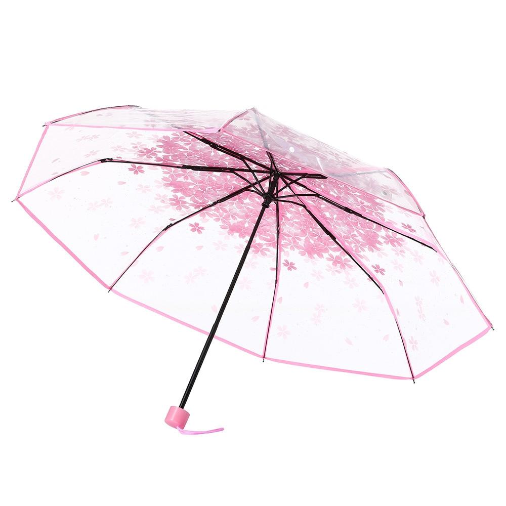 Paraguas transparente para lluvia, paraguas transparente con forma de seta, flor de cerezo, Apolo Sakura, paraguas plegable con 3 pliegues, a prueba de viento, mini UV Sunny para mujer