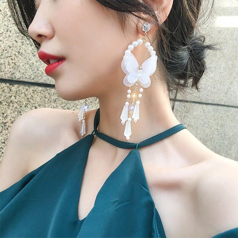 2019 New Arrival Yarn Bohemia Women Dangle Earrings Butterfly Pearl Fringed Earrings Bohemian Drop Earrings