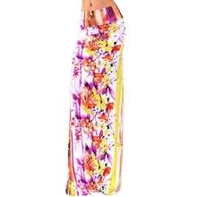 للمرأة الصيف نمط البوهيمي بوهو الأزهار طباعة مثير فتح الجانب سبليت شاطئ حفلة العمل كلوبوير المجهزة تنورة طويلة