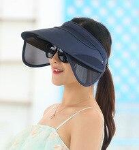 2018 New Retractable Visor Female Summer Sun Empty Top Hat Riding Outdoor Sports Cap UV Sun Hat Woman Beach Hat Fishing Cap