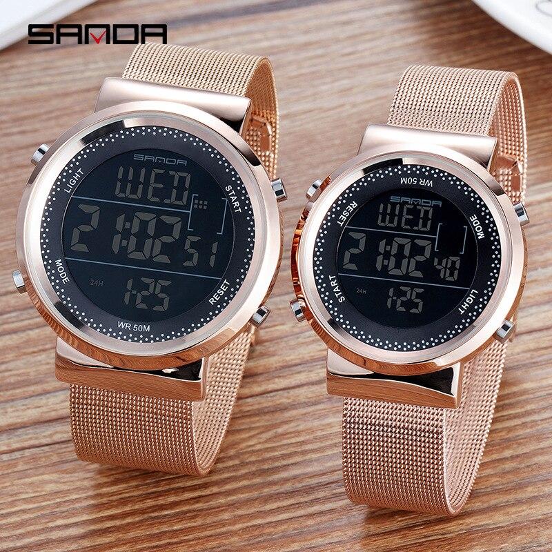 Sanda, reloj de malla de acero inoxidable para hombres, Relojes LED digitales para mujeres, relojes de pulsera con cronógrafo y alarma de calendario, relojes de pulsera de pareja, 383G/384L