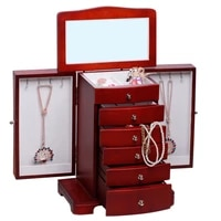 rowling extra large mirror wooden jewellery display box and packaging storage velvet case rings necklaces luxury organizer mg012