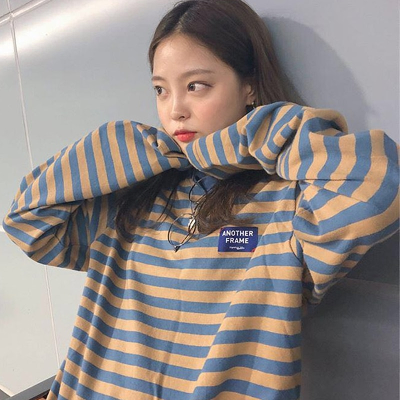2019 coreano ulzzang o-neck listrado camiseta feminina casual manga longa kawaii plus size t camisa feminina de grandes dimensões vogue topos t