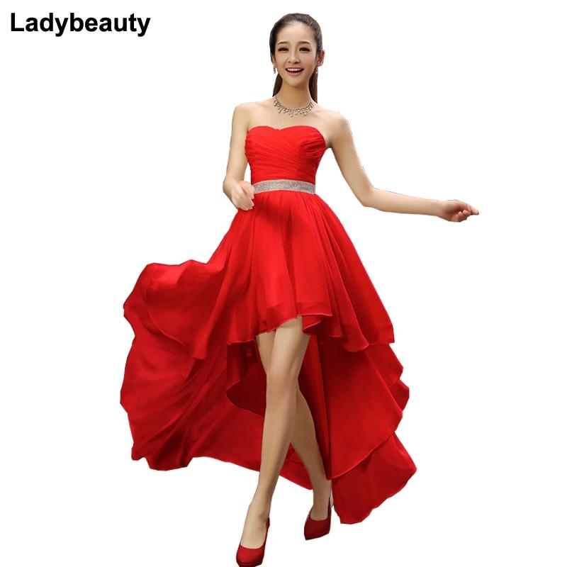 Ladybeauty-فستان إشبينة العروس ، قصير ، شيفون ، حزام كريستال ، بدون أكمام ، مطوي ، أمامي قصير ، ظهر طويل ، مقاس كبير ، حفلة موسيقية ، 2018