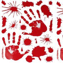 Autocollants imprimés de sang à la main, décoration dhalloween, accessoires de fête, Zombie Dead, effrayants et chauds