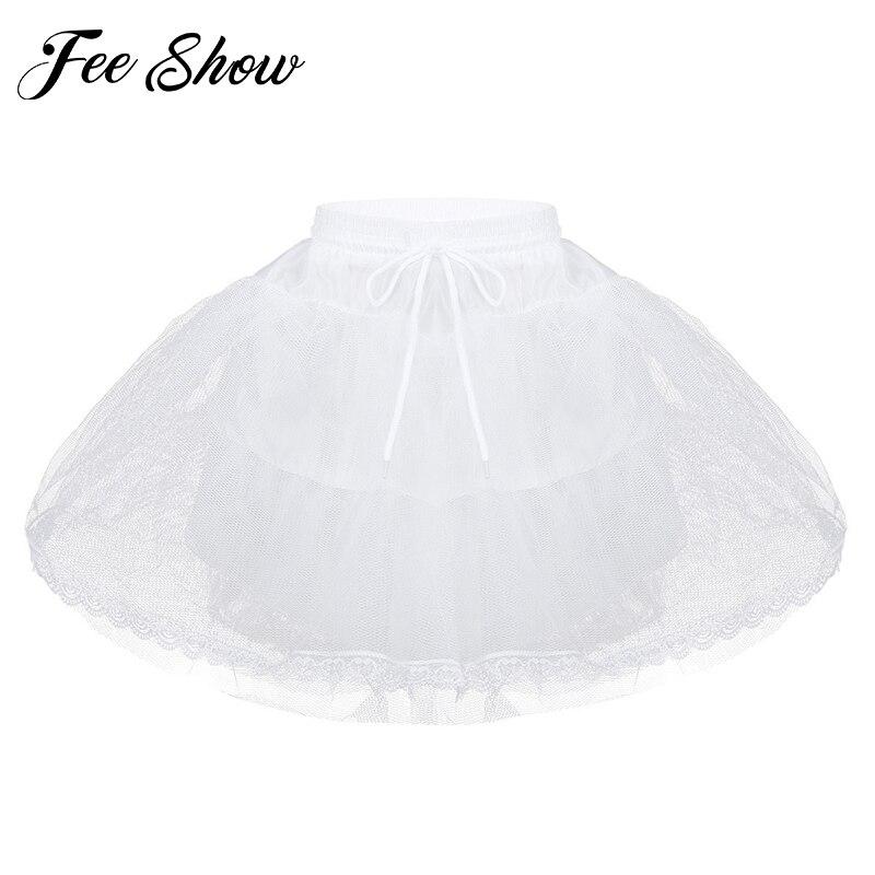 Moda Meninas Saia Princesa Cor Sólida Elástico Na Cintura Da Dama de Honra de Casamento 3 Camada Net Petticoat Underskirt Tutu Menina Saias De Malha