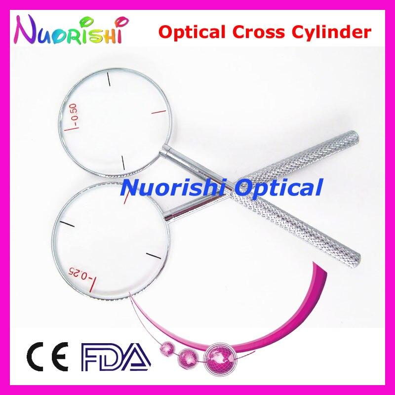 Ophthalmic Optical cilindro cruz 4 dioptrias para opcional 0.25, 0.50, 0.75, 1.00 E09-5503 frete grátis