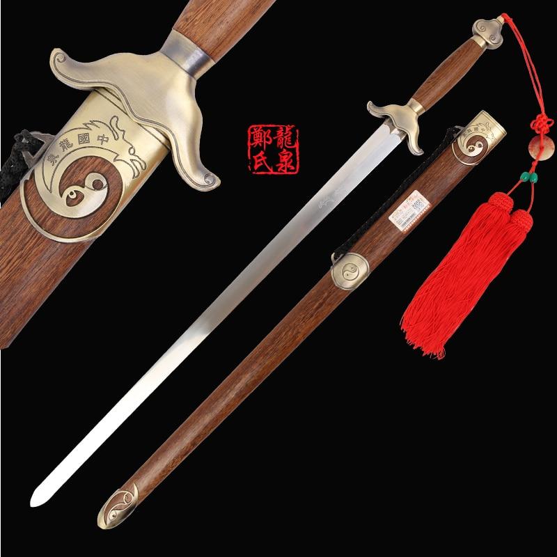 Espada de arte marcial chino hoja flexible de acero inoxidable para practicar Bagua TaiJi Jian con correa bolsa herramientas Kongfu