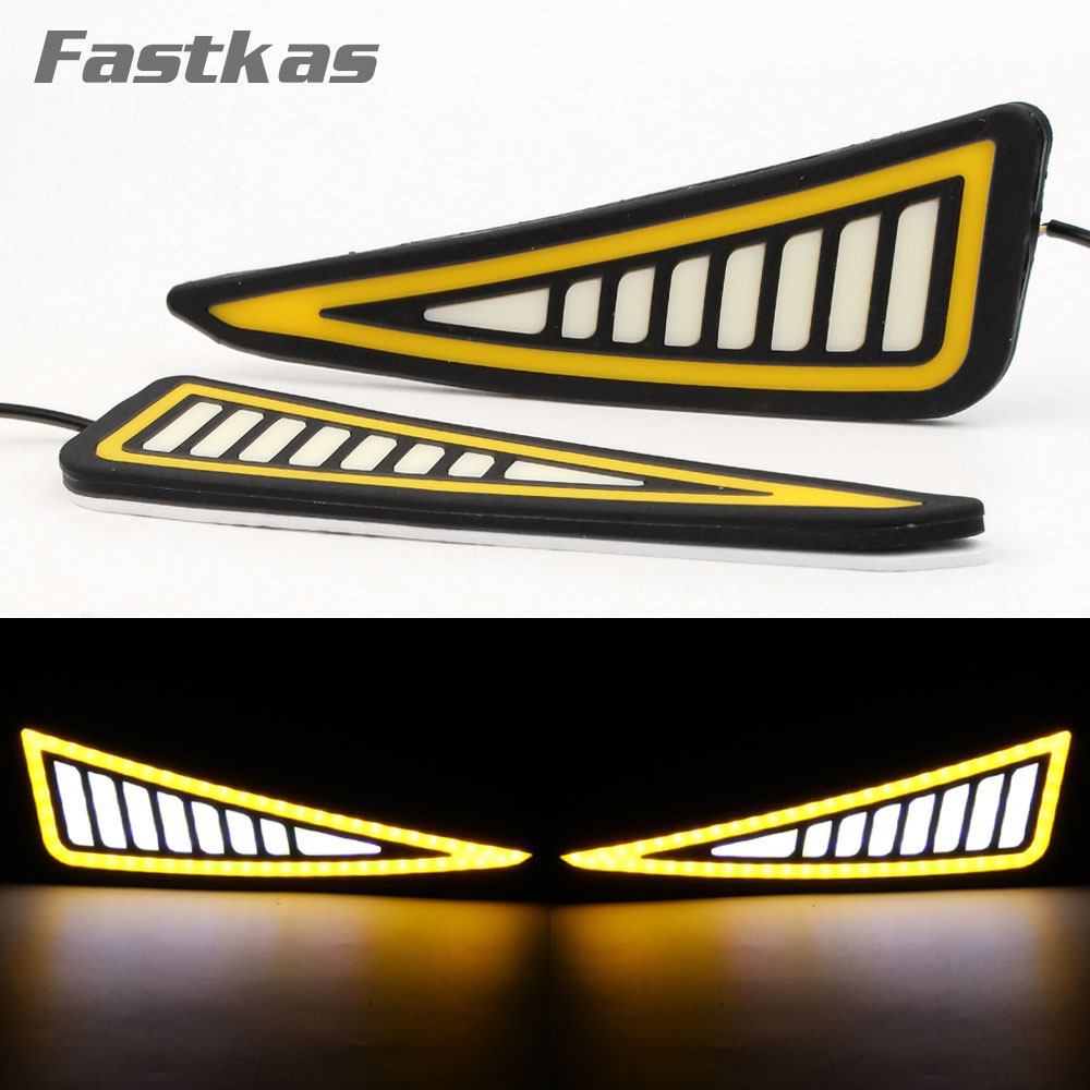 Автомобильный Стайлинг DRL светодиодные гибкие дневные ходовые огни Автомобильные фары для вождения поворотные сигнальные огни водонепрон...