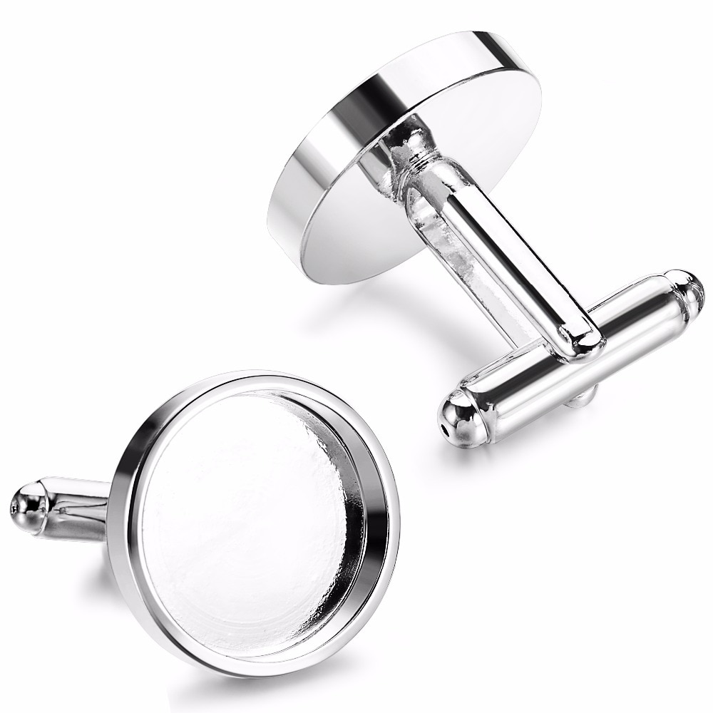 sagittarius brass steel stoving varnish cufflinks for men black silvery pair 10pcs Silver Fit 16mm 18mm Round Glass Cabochon Photo Frame Brass Bezels Base Tray Cufflinks For Men Cufflink Blanks Supplies
