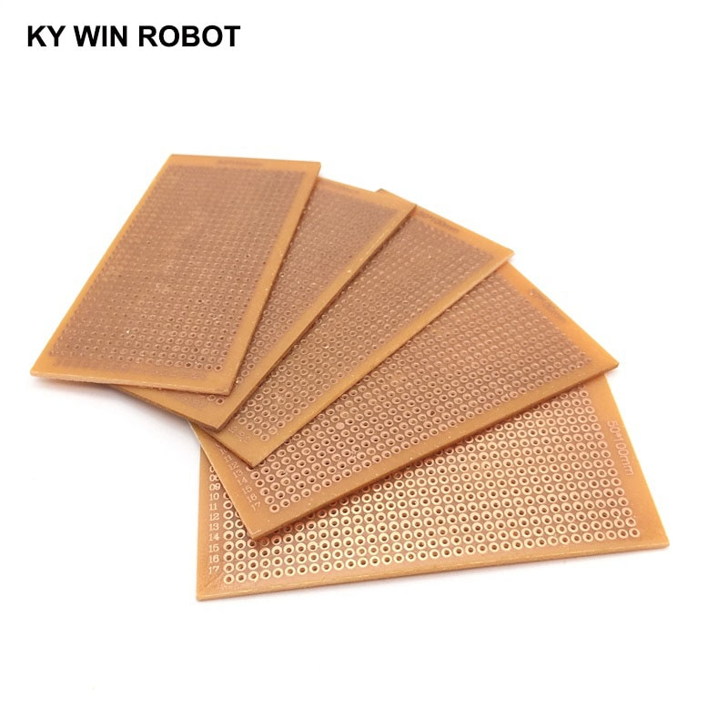 5 unids/lote DIY 5*10cm prototipo de papel cobre PCB experimento Universal placa de circuito matricial 5x10cm