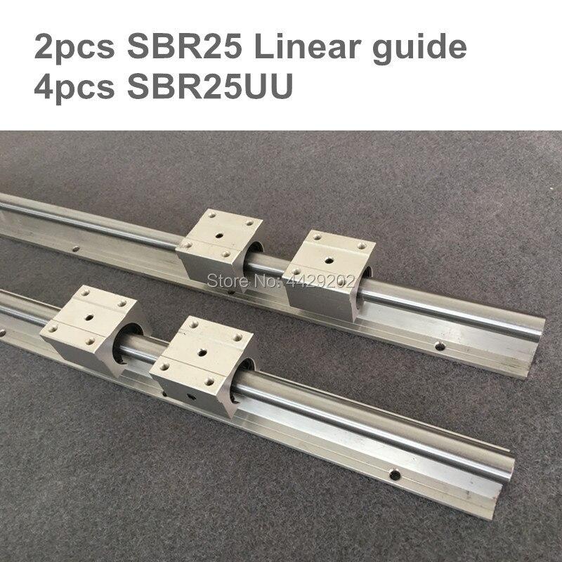 25mm rail linéaire SBR25 1200 1500mm 2 pièces et 4 pièces SBR25UU linéaire de roulement pour CNC pièces 25mm guidage linéaire