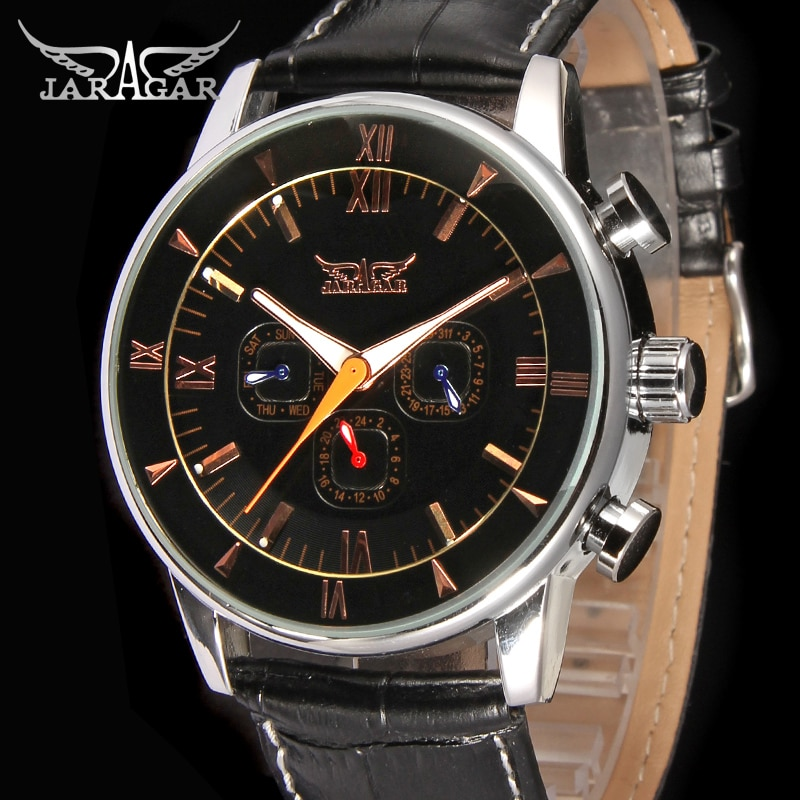 JAG6901M3S1 new popular Jargar  Automatic men watch factory black genuine leather strap best price free shipping with  gift box