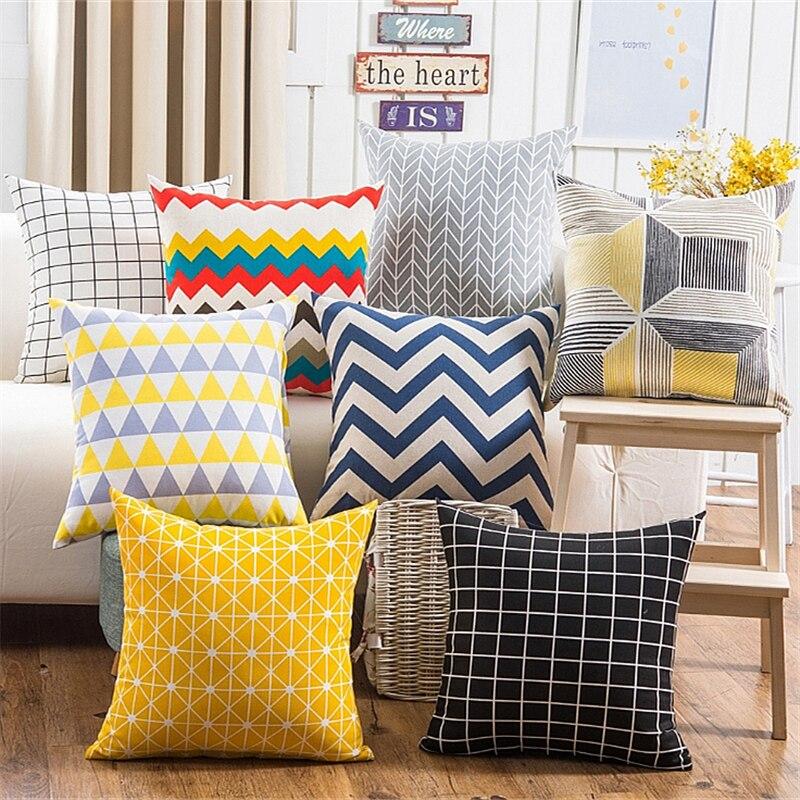 ¡Oferta! Multi fundas para almohadas de colores sofá cuadrado estampado de ondas patrón de arpillera de lino geométrico moderno funda de almohada funda de cojín para asiento