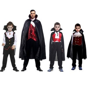 Carnival Party Halloween Kids Children Count Dracula Gothic Vampire Costume Fantasia Prince Vampire Cosplay for Kids Adult plus