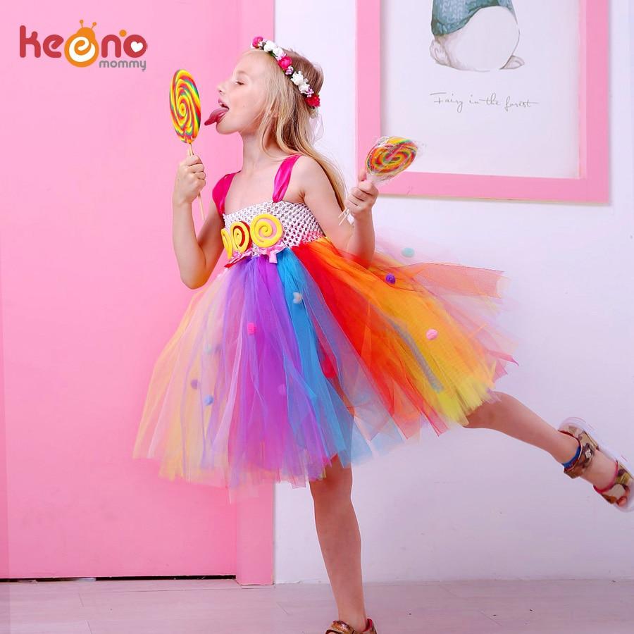 Платье-пачка леденца для девочек, яркое, Радужное, на день рождения