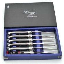 Couteaux à Steak en acier inoxydable   De Super qualité avec manche en bois de layer 6 pièces couteau à dîner emballé avec boîte-cadeau PK Laguiole couteaux de Table