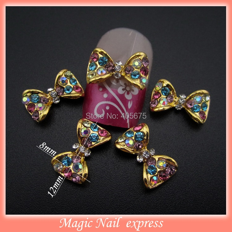 MNS553 MIX color rhinestones 3d bows nail art decoration accessories nail beauty jewelry 10pcs