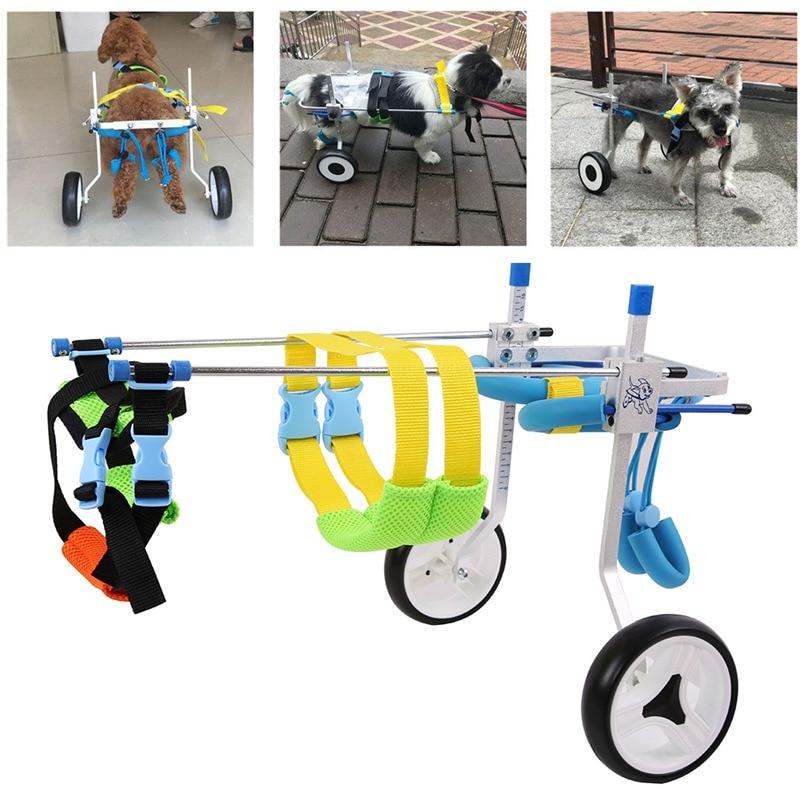"2 de 5 ""mascota perro gato silla de ruedas de aluminio caminar carro Scooter para discapacitados pata trasera XS modelo peso de la mascota 3-15kg puede ajustar"
