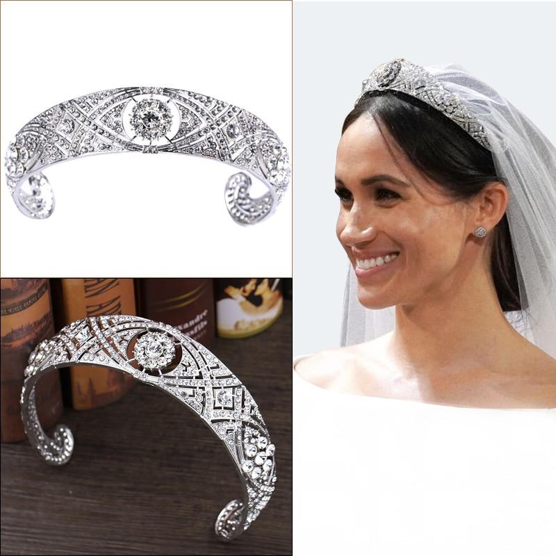 Luxury Silver Color Crystal Meghan Princess Bridal Tiaras Crown Baroque Rhinestone Diadem Women Headbands Wedding Hair Jewelry