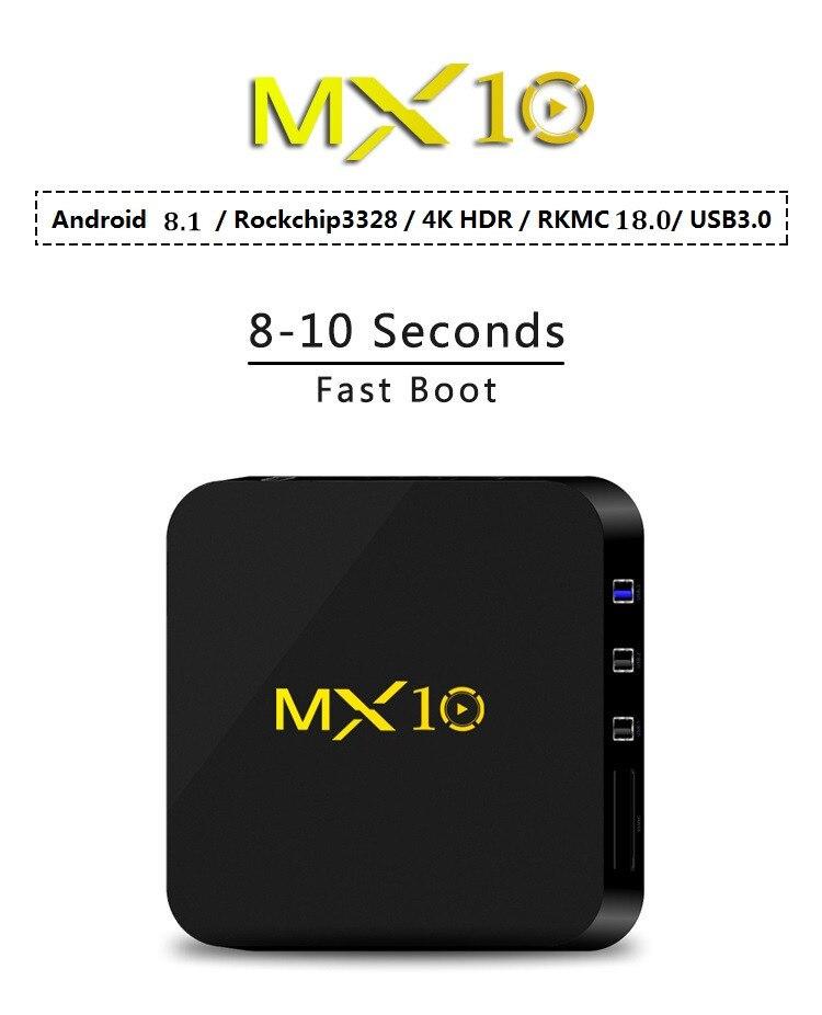 MX10 4 GB RAM 64 GB ROM mejor Android 8,1 caja de TV 2018 RK3328 Quad Core 4 K HDR medios de comunicación jugador 2,4G WIFI