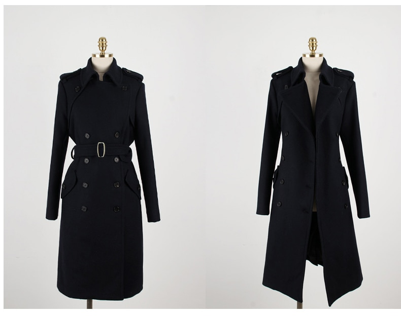 ¡Novedad de 2019! abrigo entallado de talla grande con doble botonadura de lana para uso diario