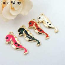 Julie Wang 10 pièces breloques cheval de mer en émail mélangé 4 couleurs pendentifs ton or trouver Bracelet fabrication de bijoux accessoire de collier