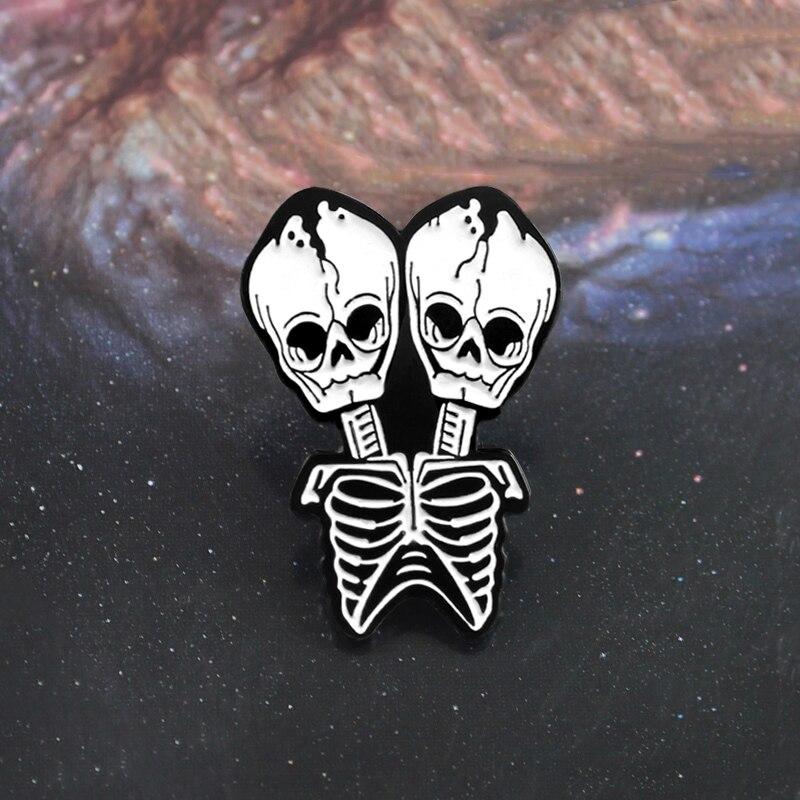 Siamese esqueleto broche casal crânio compartilhamento corpo morte esmalte pino tote bolsa de couro gótico crachá dia das bruxas casal amor presentes