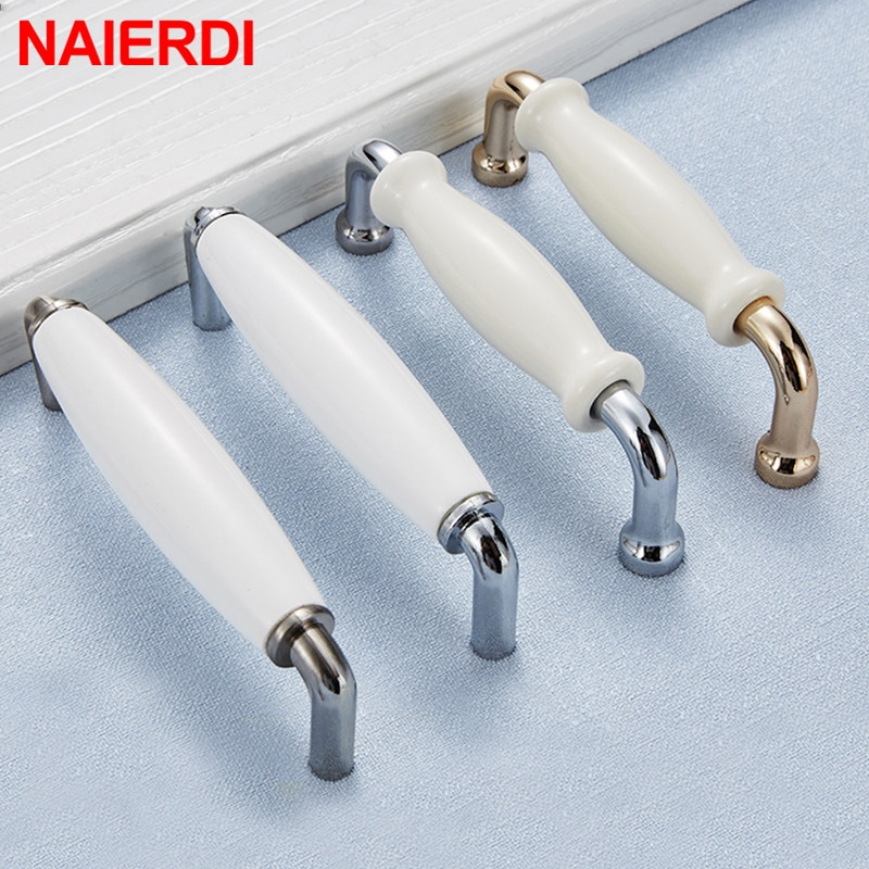 Manijas de armario de cerámica modernas NAIERDI, tiradores de cajón de aleación de Zinc, manijas de cajón de cromo brillante para puertas de armario, manijas de muebles de 96mm/128mm