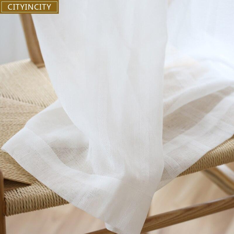 Cortina de tira blanca CITYINCITY para sala de estar, tul tejido Jacquard de lujo para cocina, dormitorio, cortina hecha a medida
