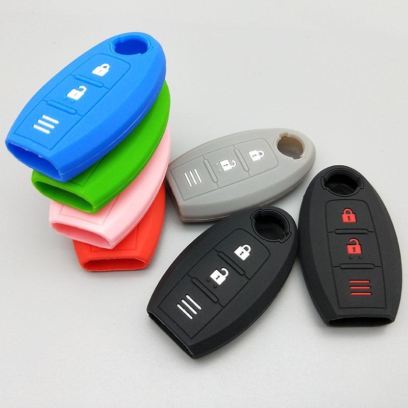 Защитный чехол для автомобильного ключа для Nissan 2017 2018 qashqai skyline Juke Alissa x-trail, 2 кнопки, пульт дистанционного управления, силиконовый резиновый чехол, комплект
