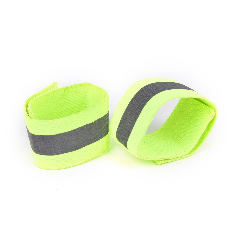 2 unids/par verde de alta visibilidad doble muñequera reflectante pulsera banda corriendo noche ciclismo correr seguridad brazalete reflector