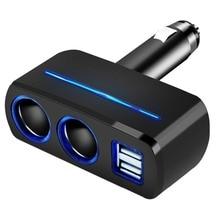 Chargeur de voiture multi-ports 12V-24V 2 prises allume-cigare 2 ports USB chargeur de voiture rapide pour iPhone Samsung tablette chargeur de voiture