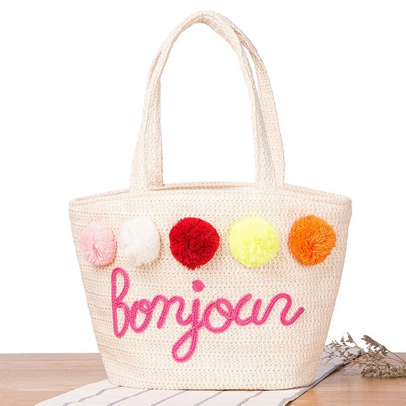 2017 Handbags for Women Summer Straw Pom Ball Letter Design Beach Bag Boho Shoulder Bags Basket Party Market Shopping Tote