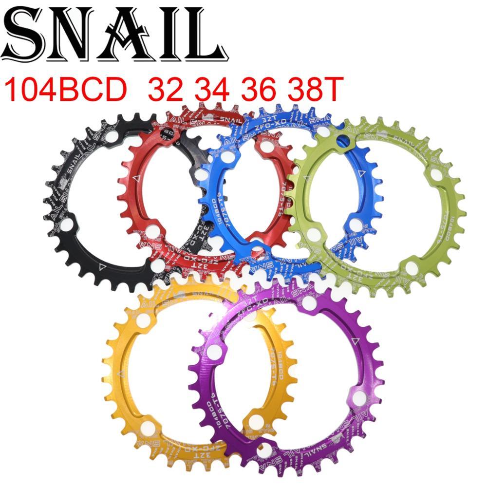 Caracol plato 104 BCD ronda 32 34 36 38T diente estrecha n amplia ultraligero placa MTB bicicleta de montaña 104BCD anillo de cadena