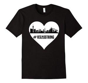 Vegas Strong Heart T-Shirt Cotton T-Shirt Fashion T Shirt Free Shipping Men Summer Short Sleeves Casual 100% Cotton  Tee
