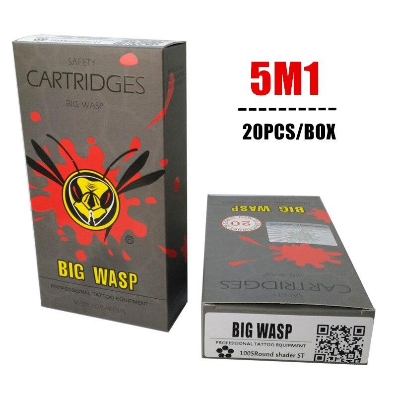 Avispa Grande gris cartucho de aguja desechable 5 sola pila Magnum (1005M1) 20 unids/caja
