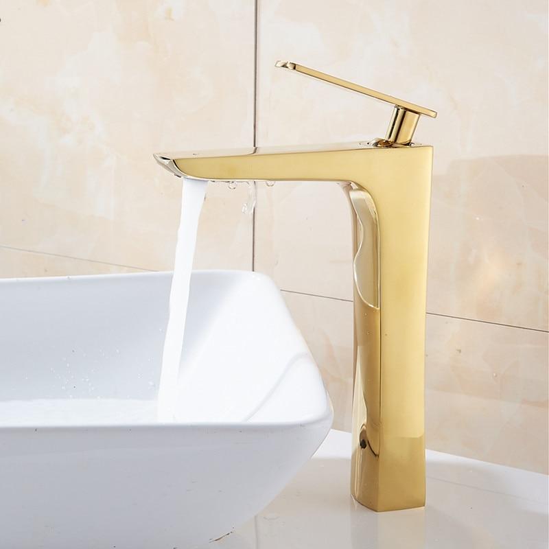 Tuqiu-صنبور حوض الحمام ، خلاط مياه الحمام الساخن والبارد ، مطلي بالكروم ، نحاس ، حوض ، خلاط مياه ذهبي