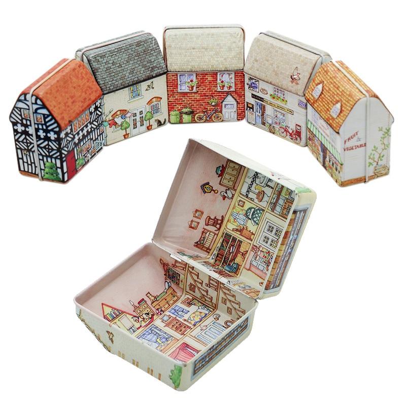 Красочная мини жестяная коробка, запечатанная банка, упаковочная коробка для ювелирных изделий, коробка для конфет, маленькая коробка для хранения в форме дома, банки, коллекция монет, подарочная коробка
