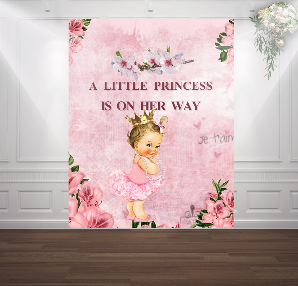 HUAYI Royal Princess Baby Shower fotografía telón de fondo fotófono fondo boda chica cumpleaños fiesta decoración fondo sm-005