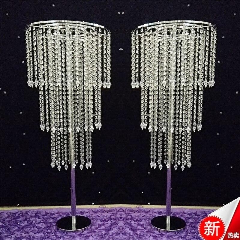 Soporte de 10 Uds./2 uds. De cristal de 100cm de altura para pilar de flores, camino de columna para pasillo, centros de mesa de boda, decoración para eventos